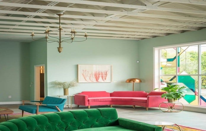 blue-green paint designs for living room