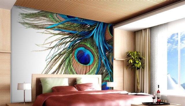 Multi-colored Peacock 3D design for bedroom