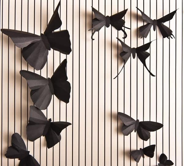 Soot Black Butterfly Romantic Wall Art