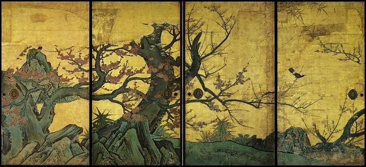 set of sliding doors of plum tree of the early 17th century